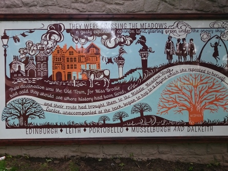 Mural at The Meadows park in central Edinburgh
